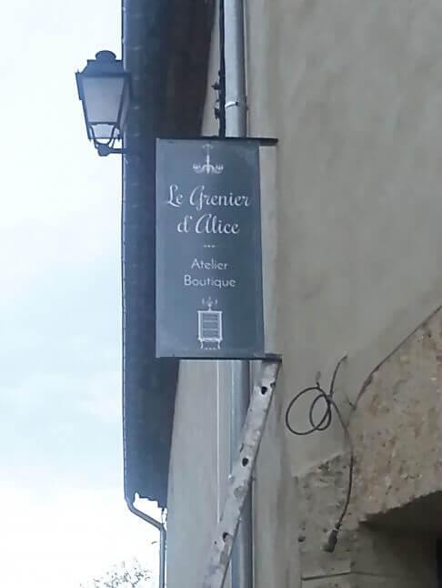 Création enseigne drapeau boutique Le Grenier d'Alice
