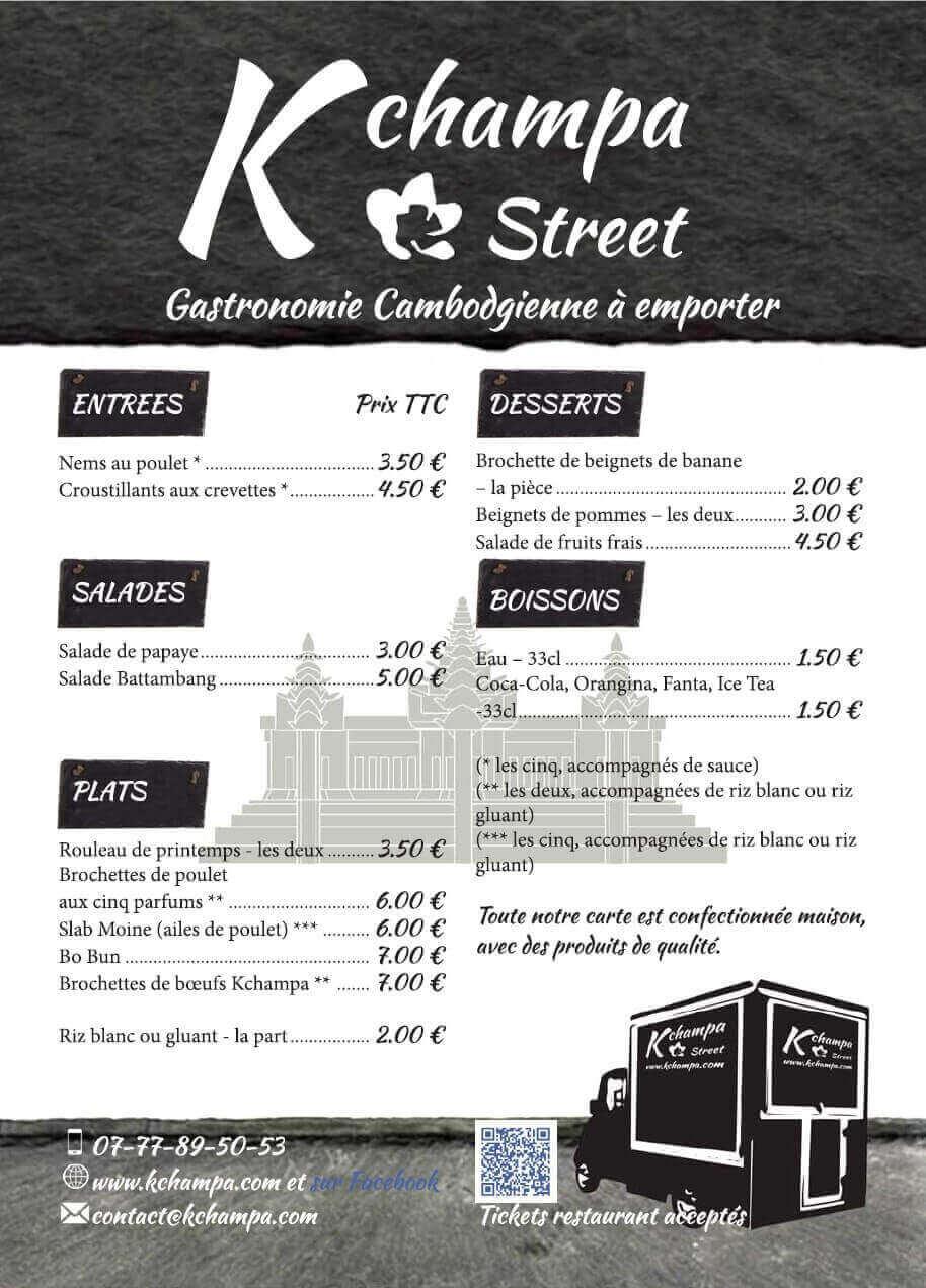 Création carte des plats Kchampa foodtruck