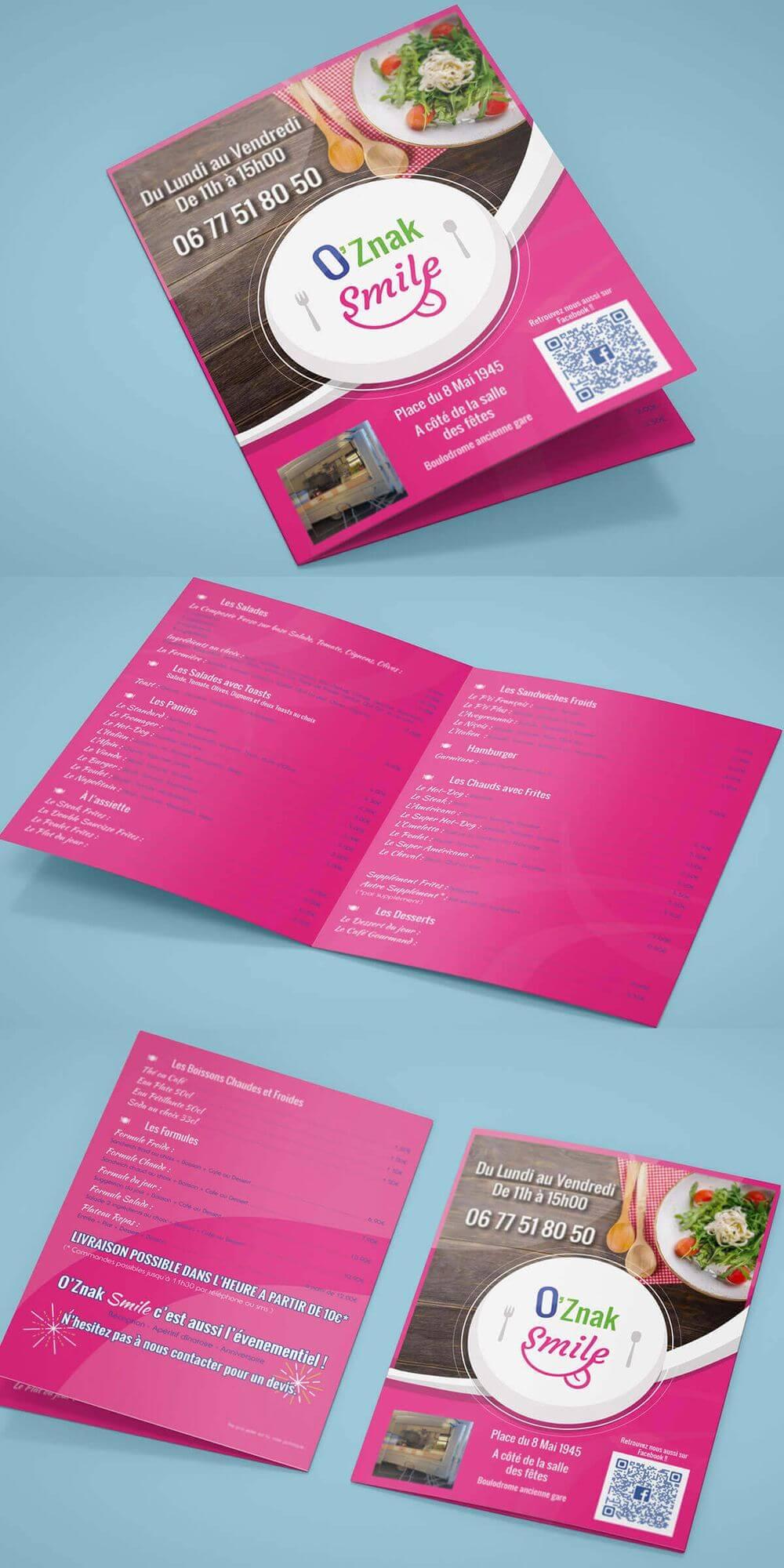 Création carte des menus O'Znak Smile