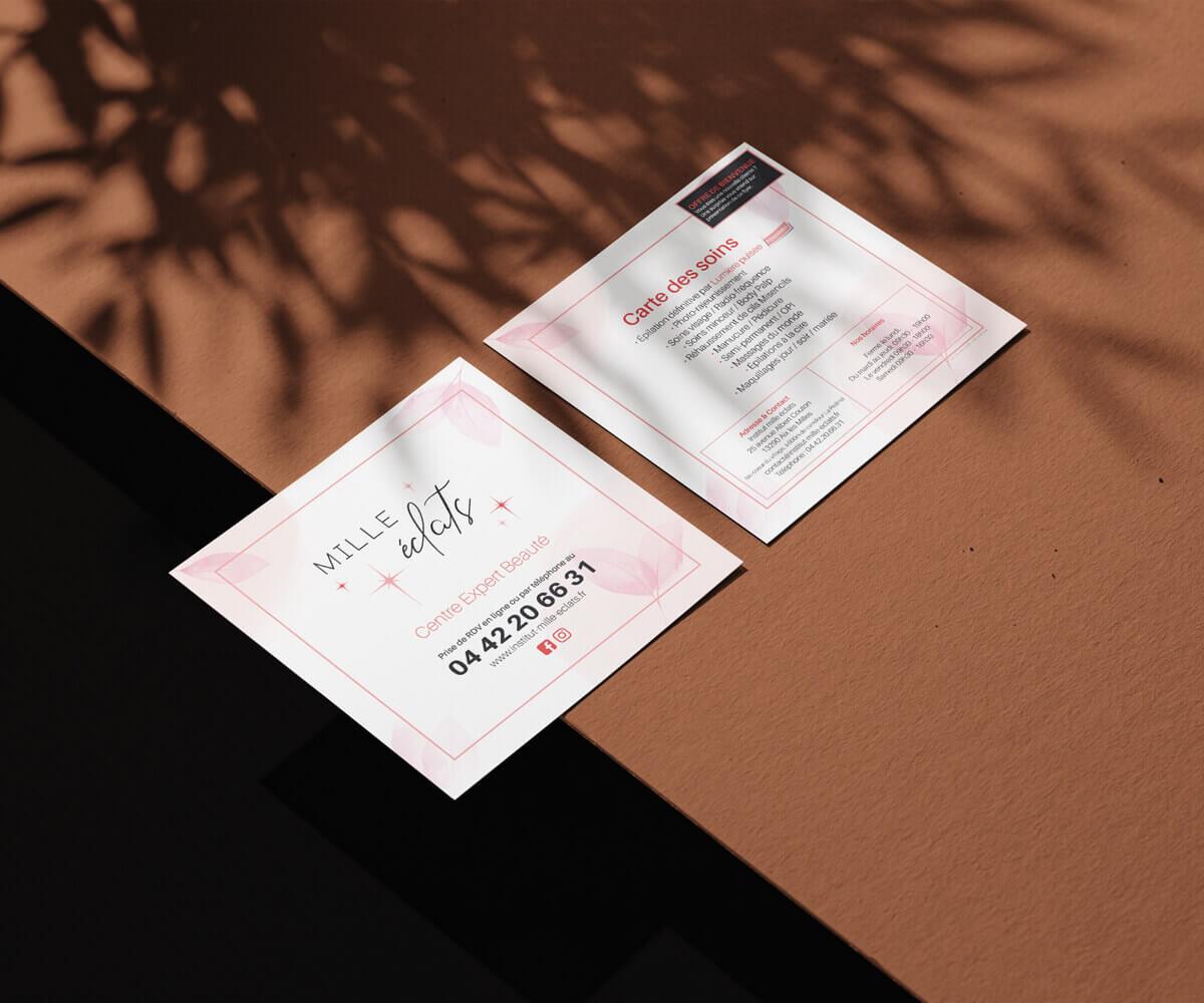 Création flyer carré recto verso pour institu de beauté